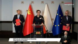 Dulkiewicz, Kowalczuk, Borawski wirtualna konferencja prasowa